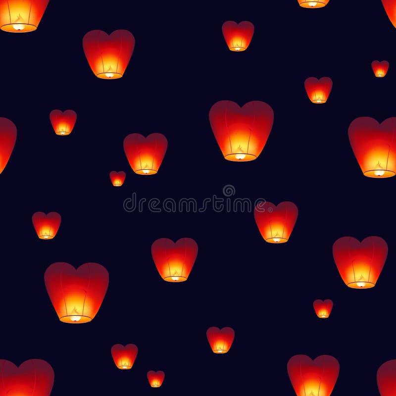 与飞行在黑暗的夜空的传统Kongming灯笼的无缝的样式 与中国装饰的背景的中间 库存例证