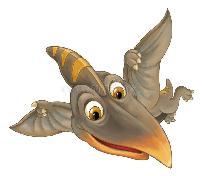 与飞行恐龙-在白色背景的翼手龙的动画片场面 库存例证