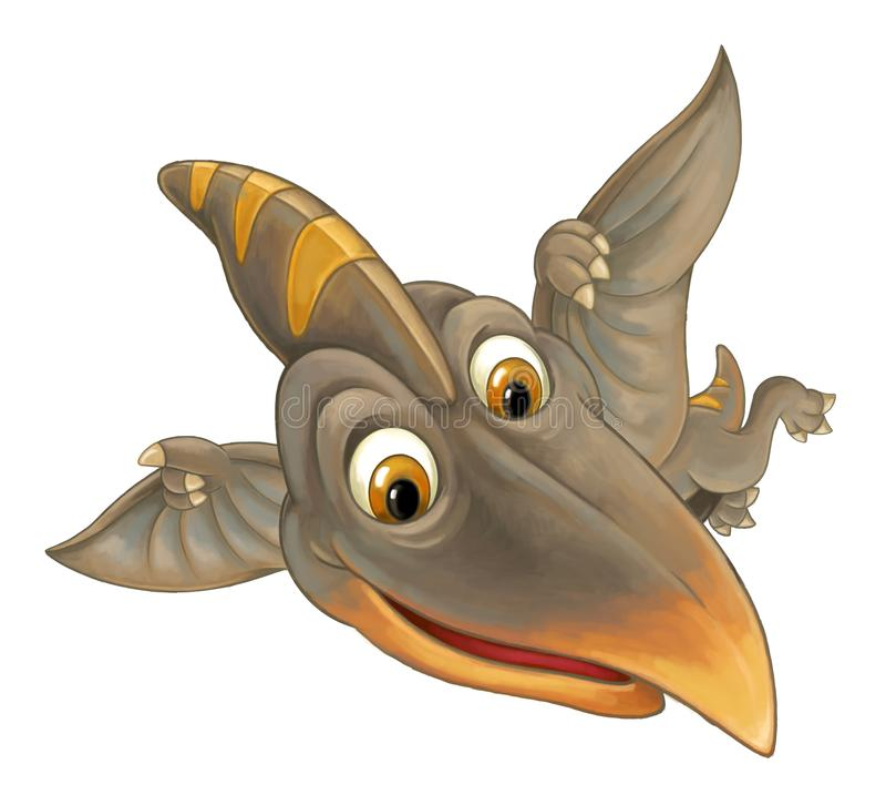 与飞行恐龙-在白色背景的翼手龙的动画片场面 向量例证