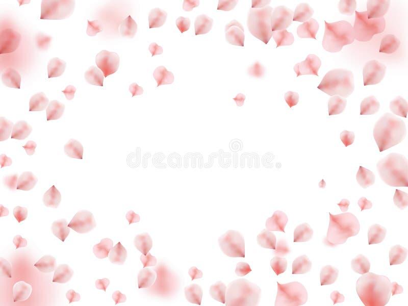 与飞行桃红色玫瑰花瓣的抽象背景 库存例证