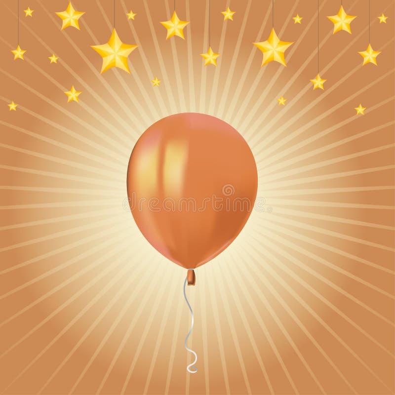 与飞行橙色气球的星和现实空气的欢乐卡片 生日聚会或贺卡设计ele的准备好模板 向量例证