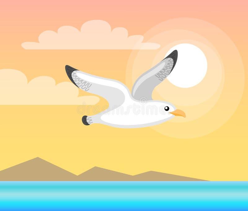 与飞行海鸥,海传染媒介的夏天Papercard 库存例证