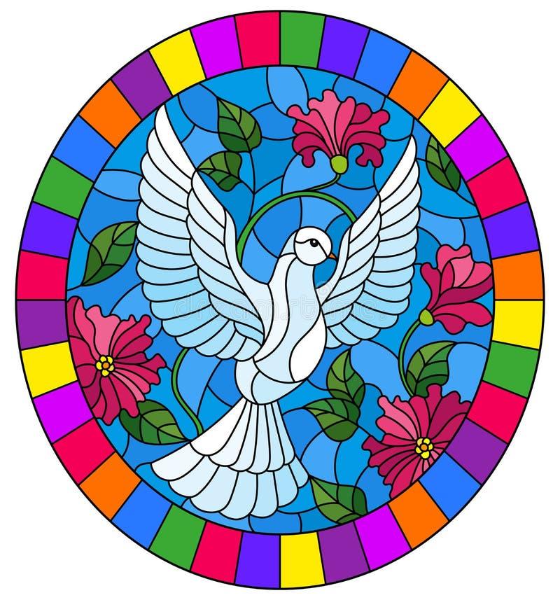 与飞行白色鸠的彩色玻璃例证在桃红色花背景,在明亮的框架的卵形图片 皇族释放例证
