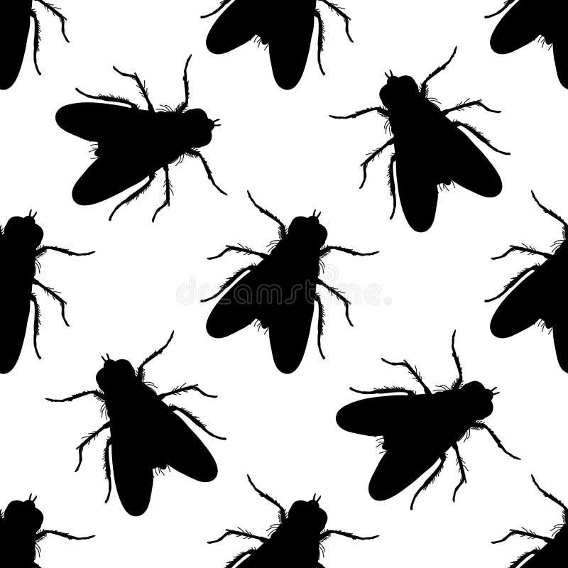 与飞行的无缝的样式 苍蝇座domestica 手拉 飞行 向量 皇族释放例证