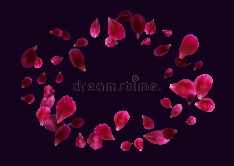 与飞行的桃红色的抽象背景,红色玫瑰花瓣 皇族释放例证