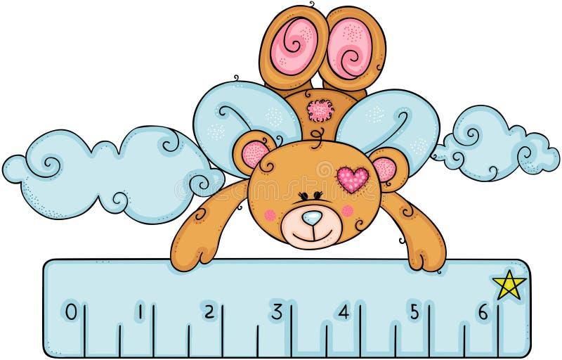 与飞行的翼的玩具熊拿着一个蓝色小的统治者 皇族释放例证