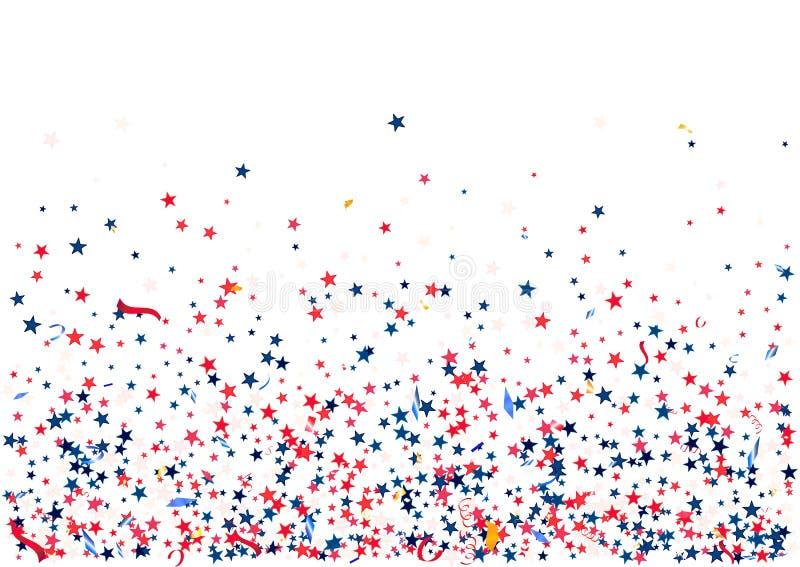 与飞行红色蓝色银的抽象背景担任主角被隔绝的五彩纸屑 空白的欢乐模板美国爱国假日 皇族释放例证