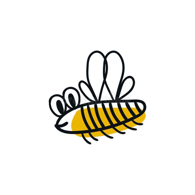 与飞行蜂的逗人喜爱的手拉的托儿所海报 在斯堪的纳维亚样式的传染媒介例证 向量例证