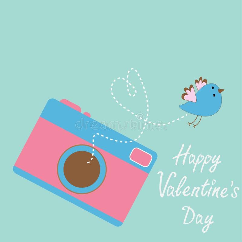 与飞鸟的照片照相机。愉快的情人节卡片。 皇族释放例证