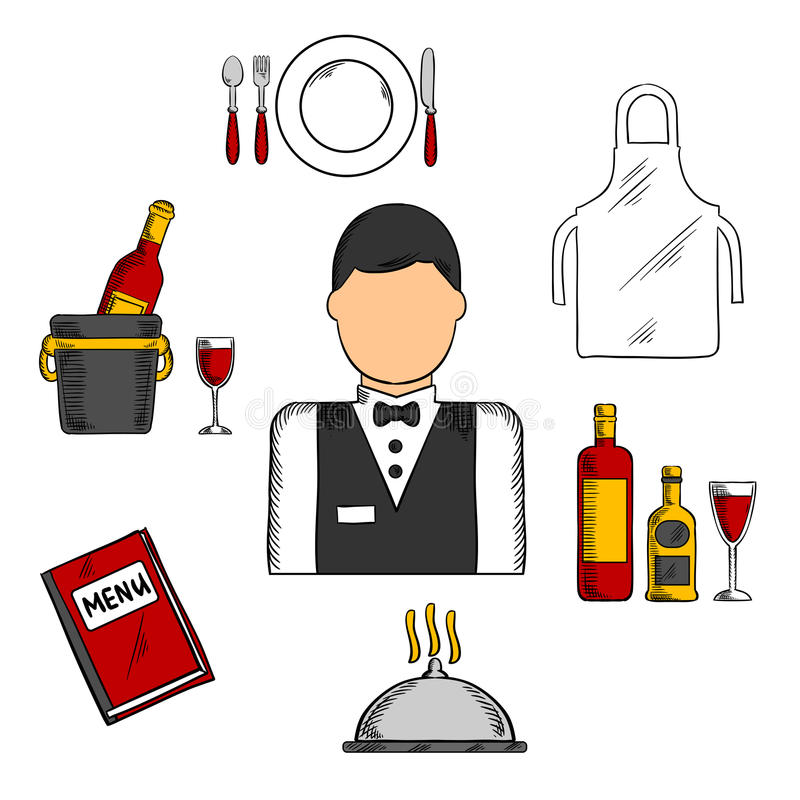 与食物和餐馆象的侍者行业 向量例证