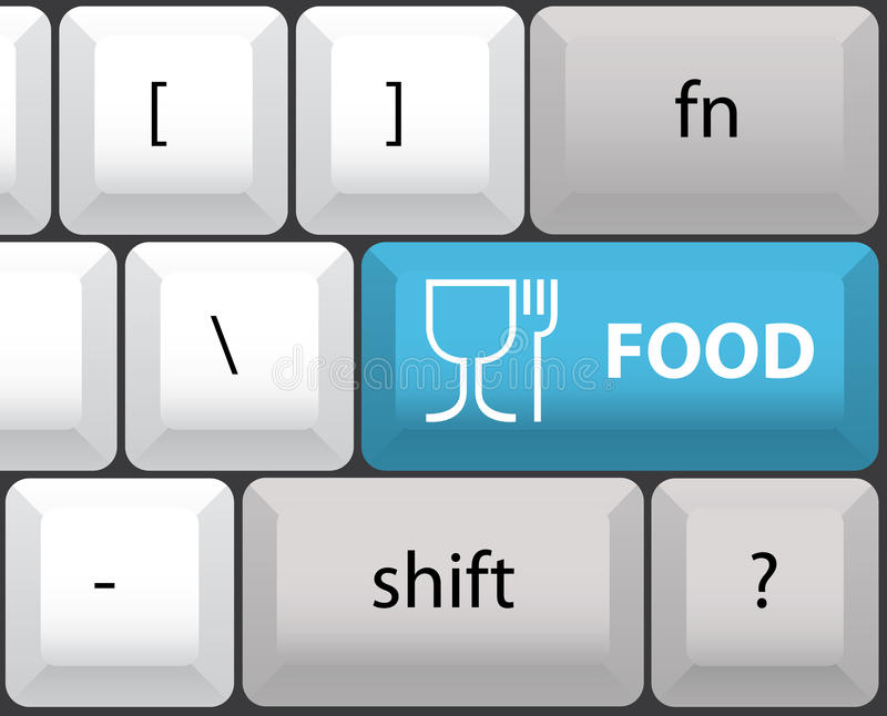 与食物按钮的键盘设计图 向量例证