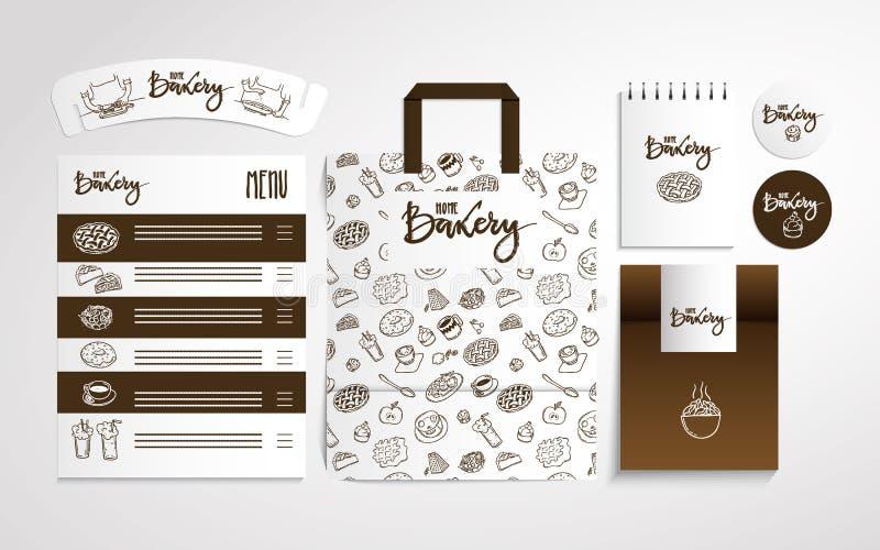 与食物样式, illustrati的家庭面包店身分设计 皇族释放例证