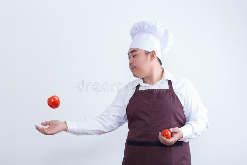 与食物概念的厨师戏剧 免版税库存照片