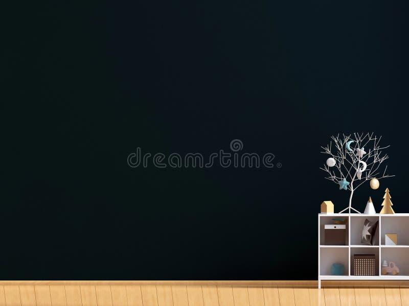 与餐具橱、海报和灯的现代内部 墙壁嘲笑 3 库存例证