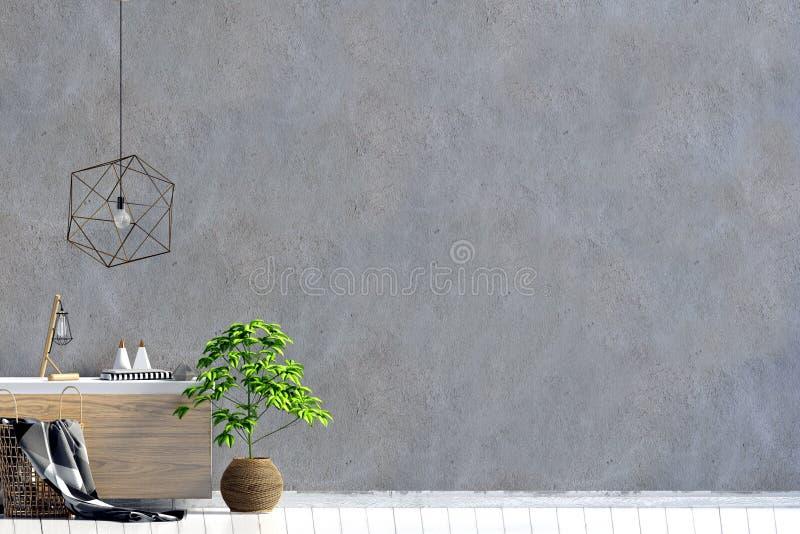 与餐具橱的现代内部 墙壁嘲笑 库存例证