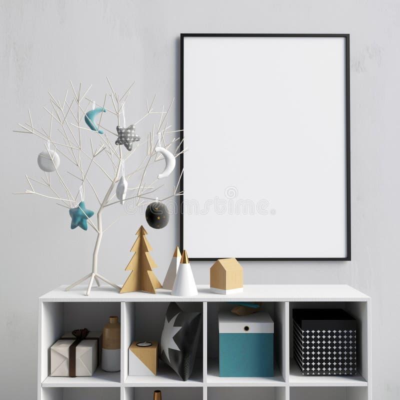 与餐具橱的现代圣诞节内部,斯堪的纳维亚样式 POS 库存例证