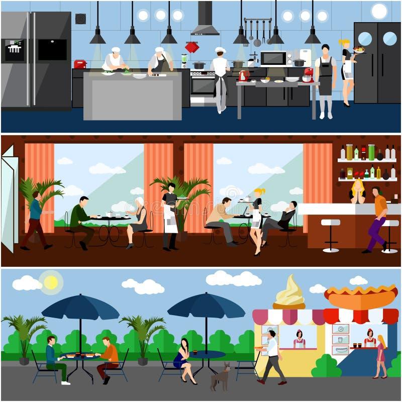 与餐馆内部的传染媒介横幅 厨房、餐厅和街道咖啡馆 在平的设计的例证 皇族释放例证