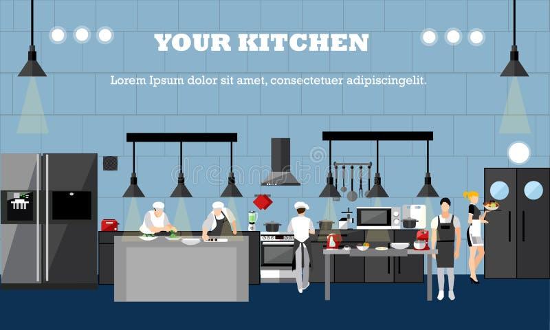 与餐馆内部的传染媒介横幅 烹调食物的厨师在厨房屋子里 例证平的设计 库存例证