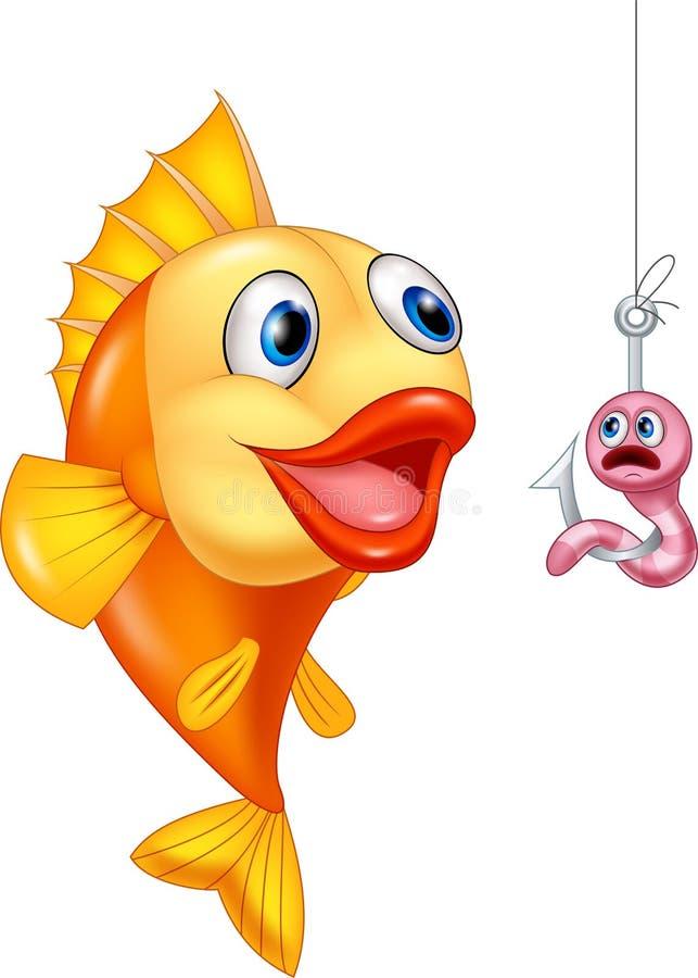 与饥饿的鱼的害怕的蠕虫 向量例证