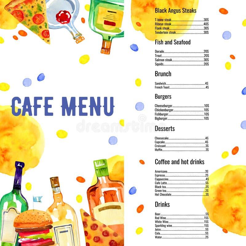 与饮料和食物名单的咖啡馆菜单长方形设计模板 比萨、汉堡、酒精瓶和鸡尾酒 皇族释放例证