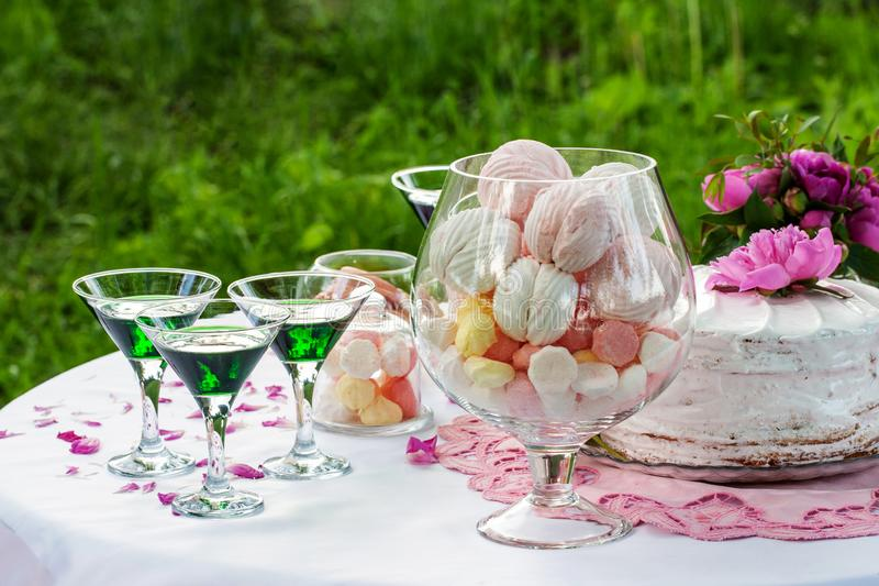 与饮料的婚姻的棒棒糖户外 免版税库存图片