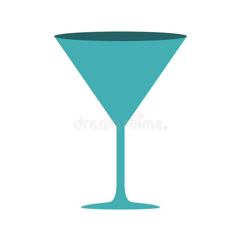 与饮料鸡尾酒杯的剪影深蓝颜色 库存例证