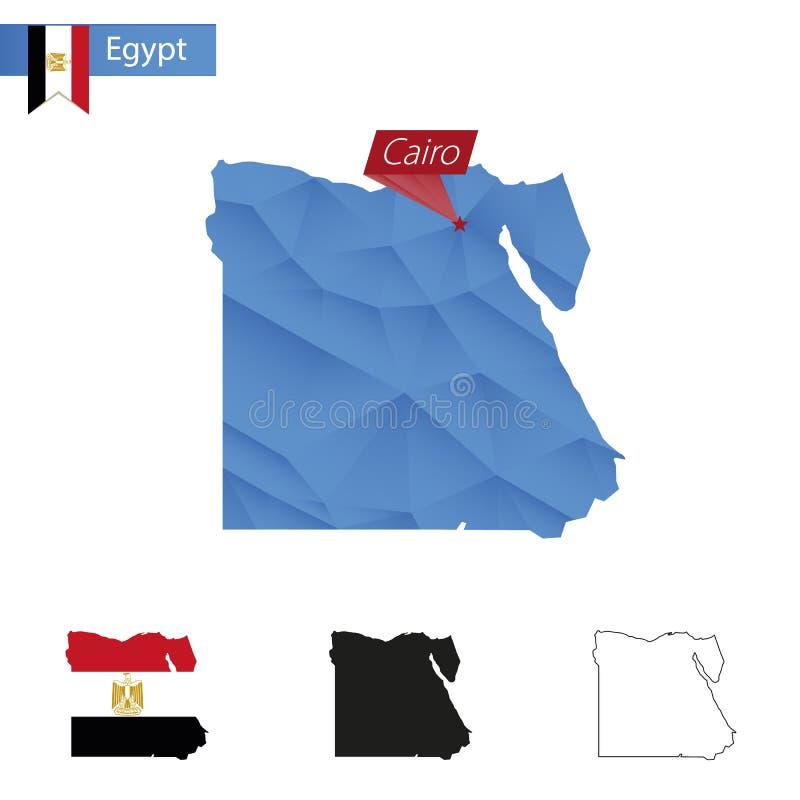 与首都开罗的埃及蓝色低多地图 向量例证