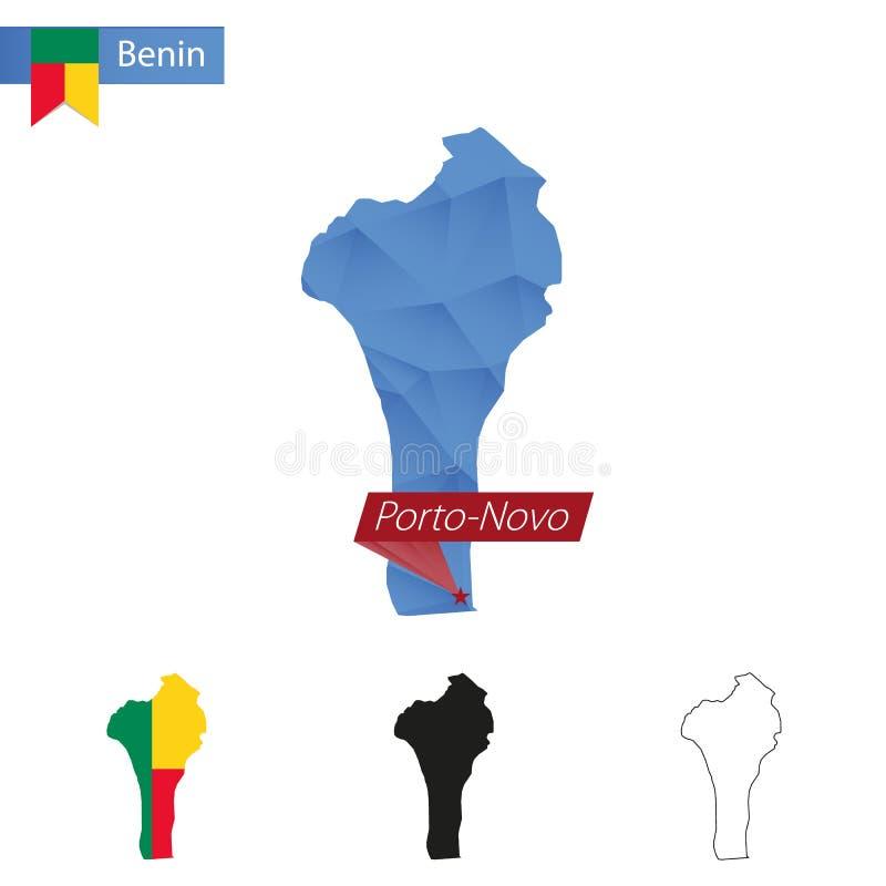 与首都波多诺伏的贝宁蓝色低多地图 向量例证