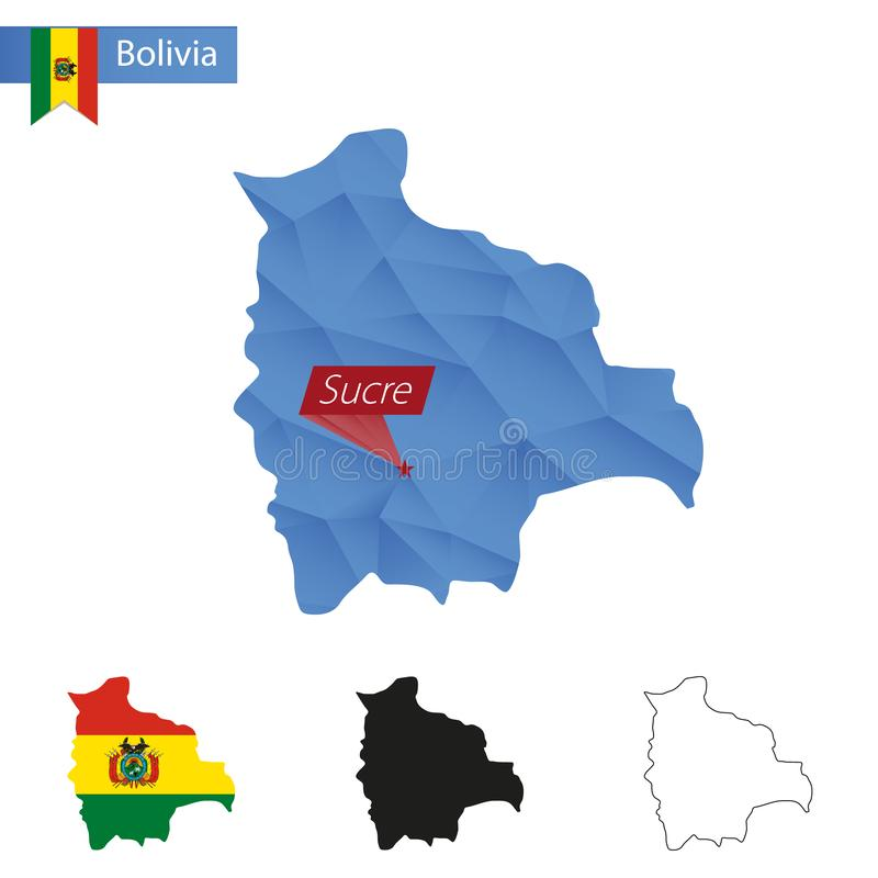 与首都苏克雷的玻利维亚蓝色低多地图 向量例证