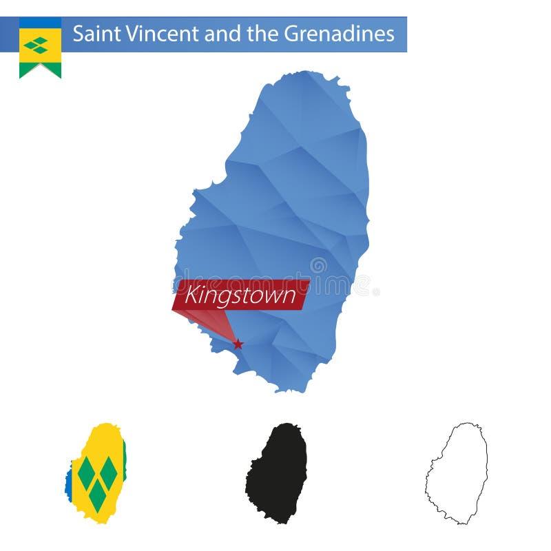 与首都金斯敦的圣文森特和格林纳丁斯蓝色低多地图 皇族释放例证