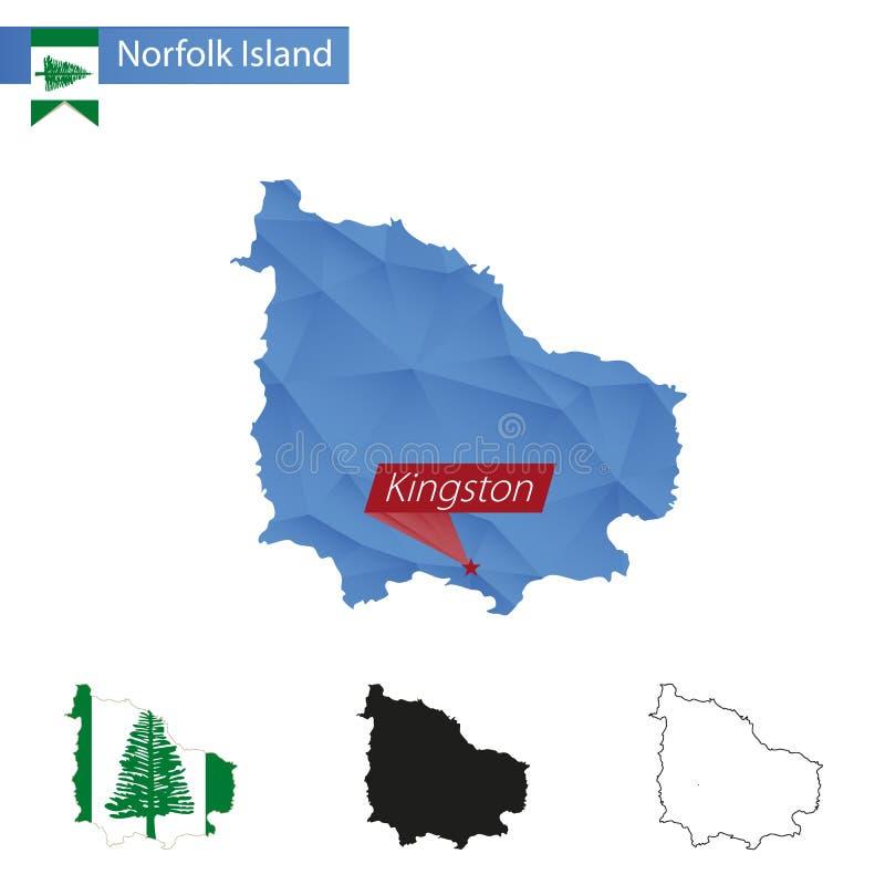 与首都金斯敦的诺福克岛蓝色低多地图 皇族释放例证