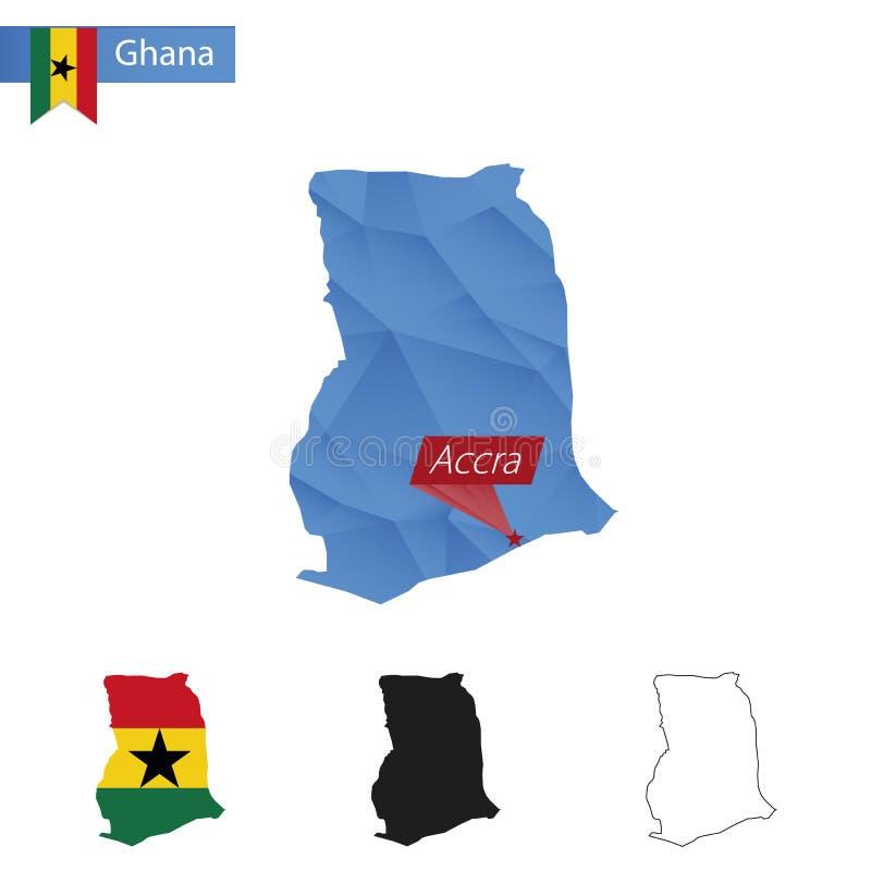 与首都阿克拉的加纳蓝色低多地图 库存例证