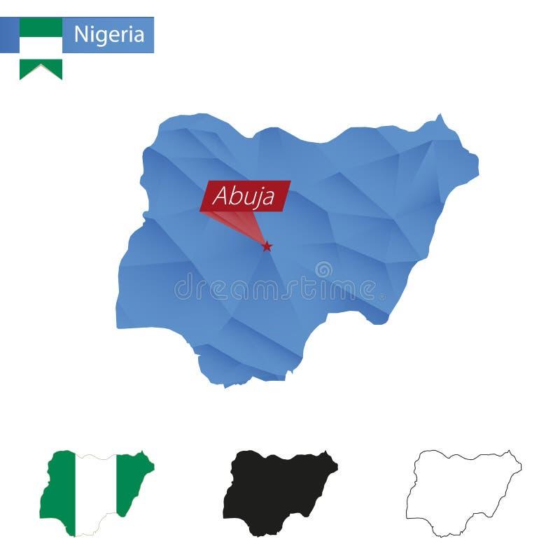 与首都阿布贾的尼日利亚蓝色低多地图 库存例证