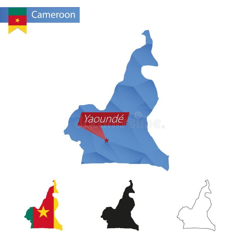 与首都雅温得的喀麦隆蓝色低多地图 向量例证