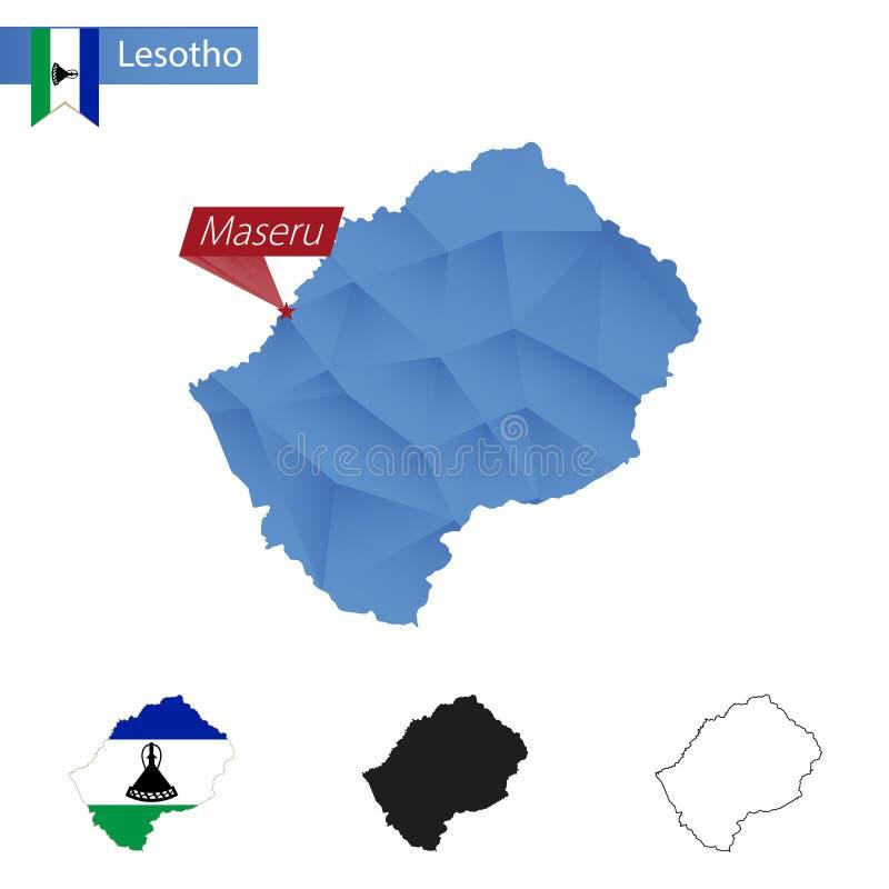 与首都马塞卢的莱索托蓝色低多地图 皇族释放例证