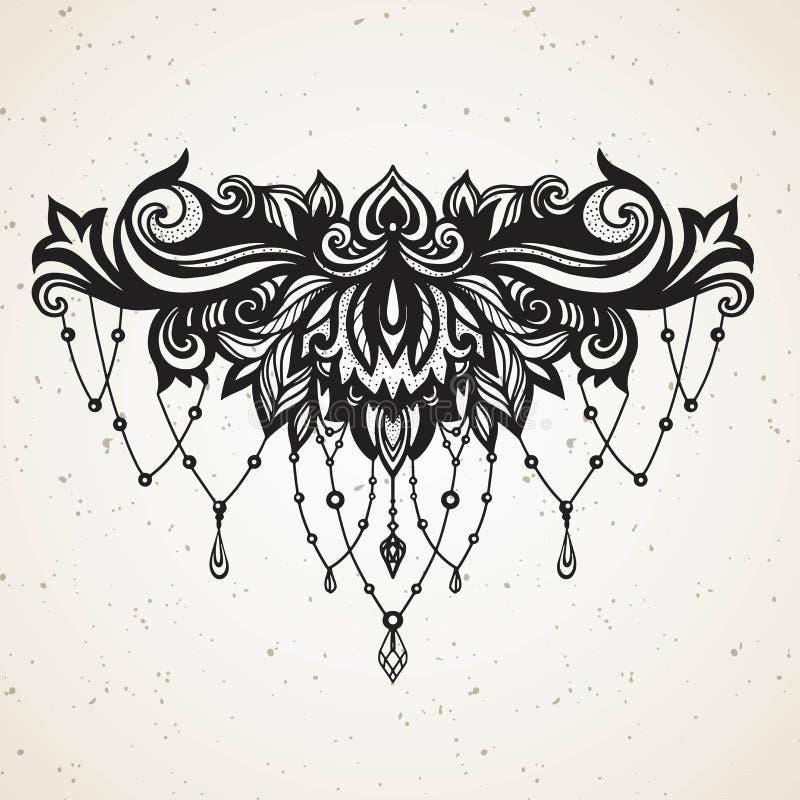 与首饰和barocco decorativ花卉元素的富有的妇女的纹身花刺 在Boho种族样式的摘要与纹身花刺的宝石 向量例证