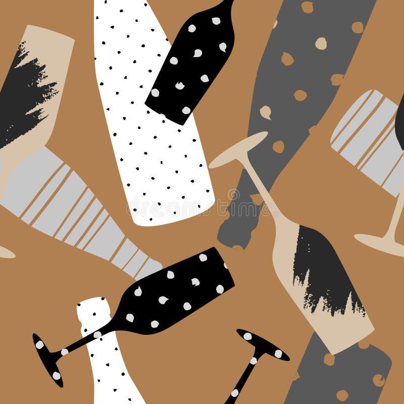 与香槟玻璃和瓶的无缝的样式 手拉的织品,缎带包装,墙壁艺术设计 库存例证