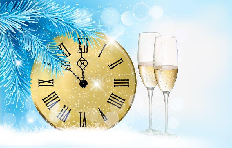 与香槟玻璃的节假日蓝色背景 皇族释放例证
