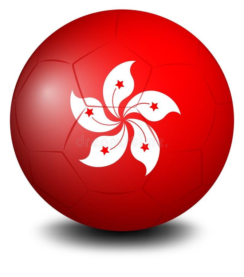 与香港旗子的一个足球 向量例证