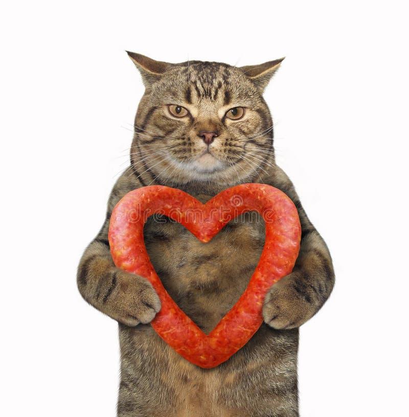 与香肠心脏2的猫 库存照片