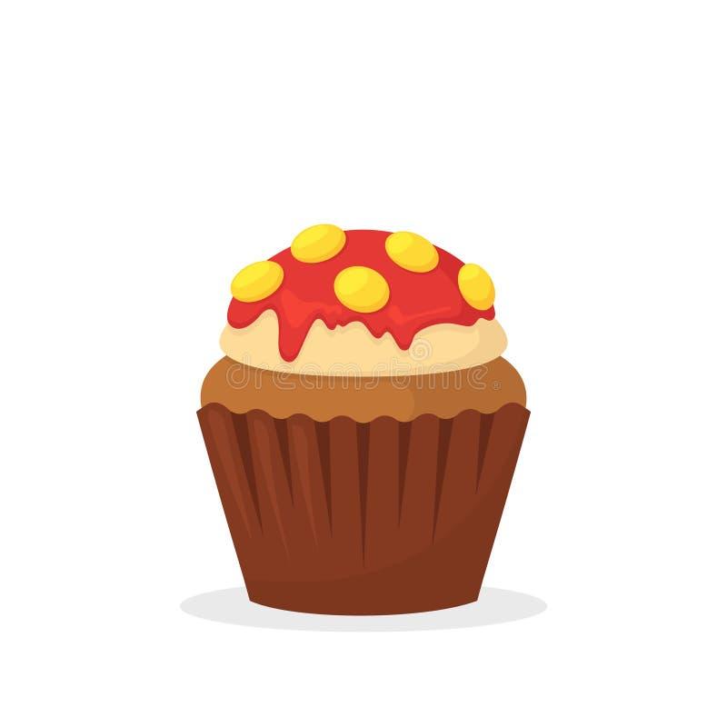 与香草奶油,红色结霜和黄色糖果的巧克力碎片松饼 甜食,与结霜平的传染媒介象的杯形蛋糕 库存例证