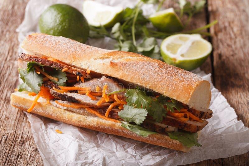 与香菜和红萝卜关闭的越南猪肉Banh Mi三明治 免版税库存照片