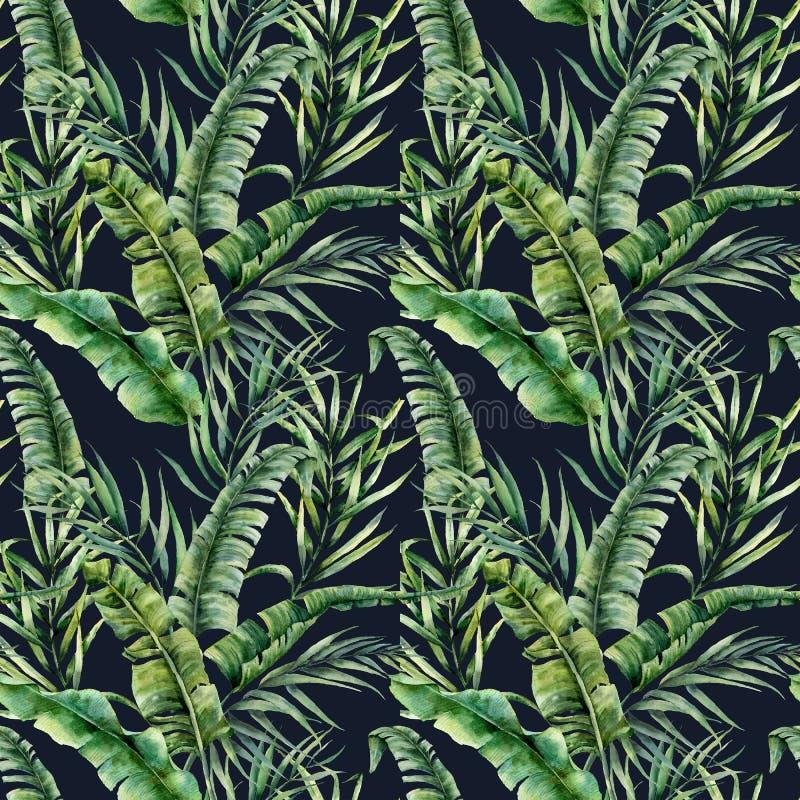 与香蕉和椰子棕榈叶的水彩热带无缝的样式 手画在黑暗的绿叶异乎寻常的分支 向量例证