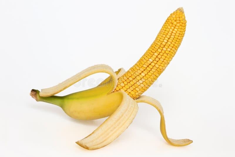 与香蕉皮的玉米棒子 免版税库存图片