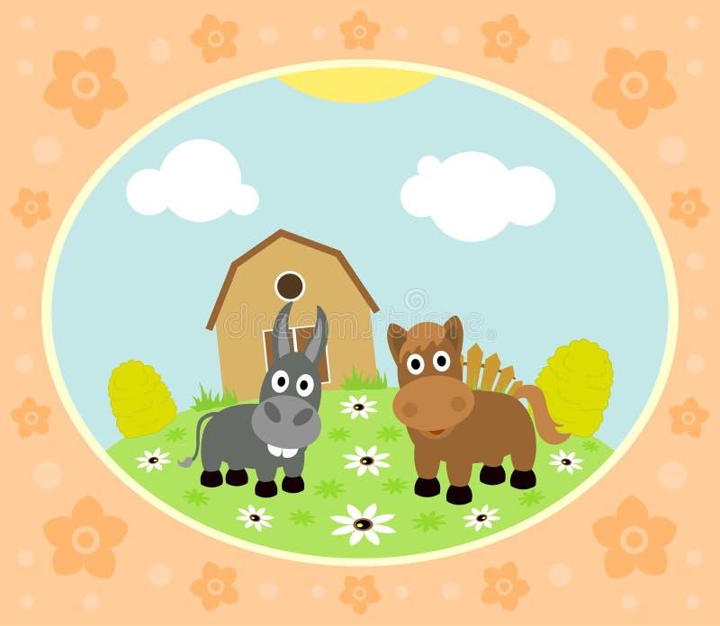 与马和驴的农厂背景 向量例证