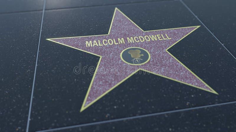 与马尔科姆・麦克道威尔题字的好莱坞星光大道星 社论3D翻译 库存照片