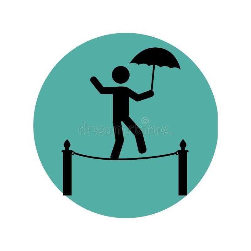 与马戏变戏法者的圆剪影与伞的绳索的 向量例证