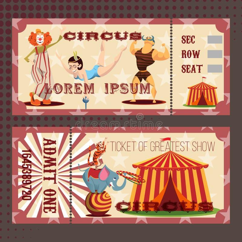 与马戏票的卡片 免版税库存照片