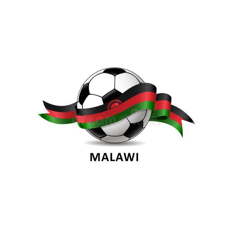 与马拉维国旗五颜六色的足迹的橄榄球 库存例证