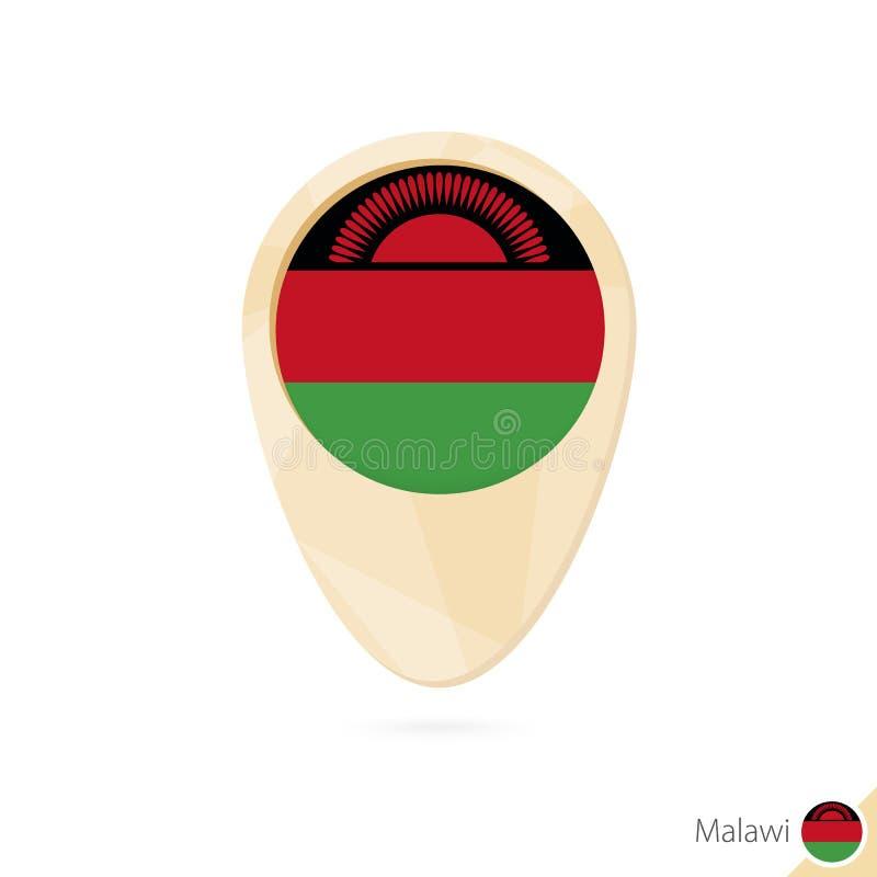 与马拉维的旗子的地图尖 橙色抽象地图象 库存例证